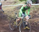 Boo Bicycles' Troy Evans pushes his bamboo singlespeed up the climb. © Cyclocross Magazine