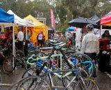 The team area was bustling with tents and pit bikes. © Jon Suzuki