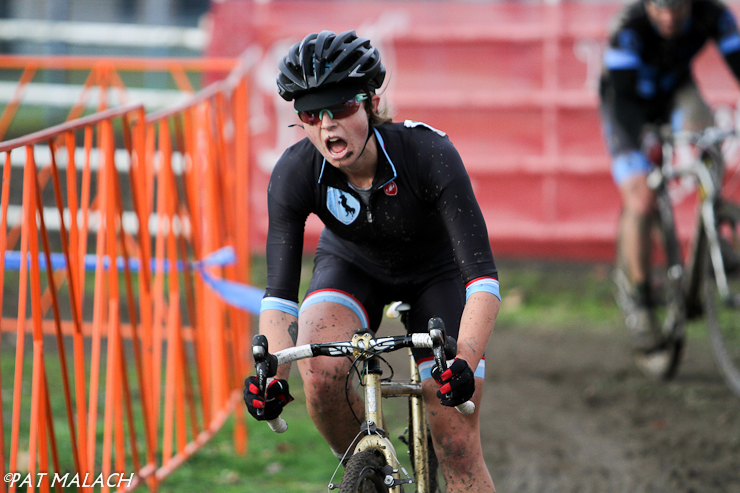 Laura Winberry crosses the line for the win. © Pat Malach
