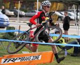 Junior Sam Rosenberg takes the barriers in the Men's A race. © Pat Malach