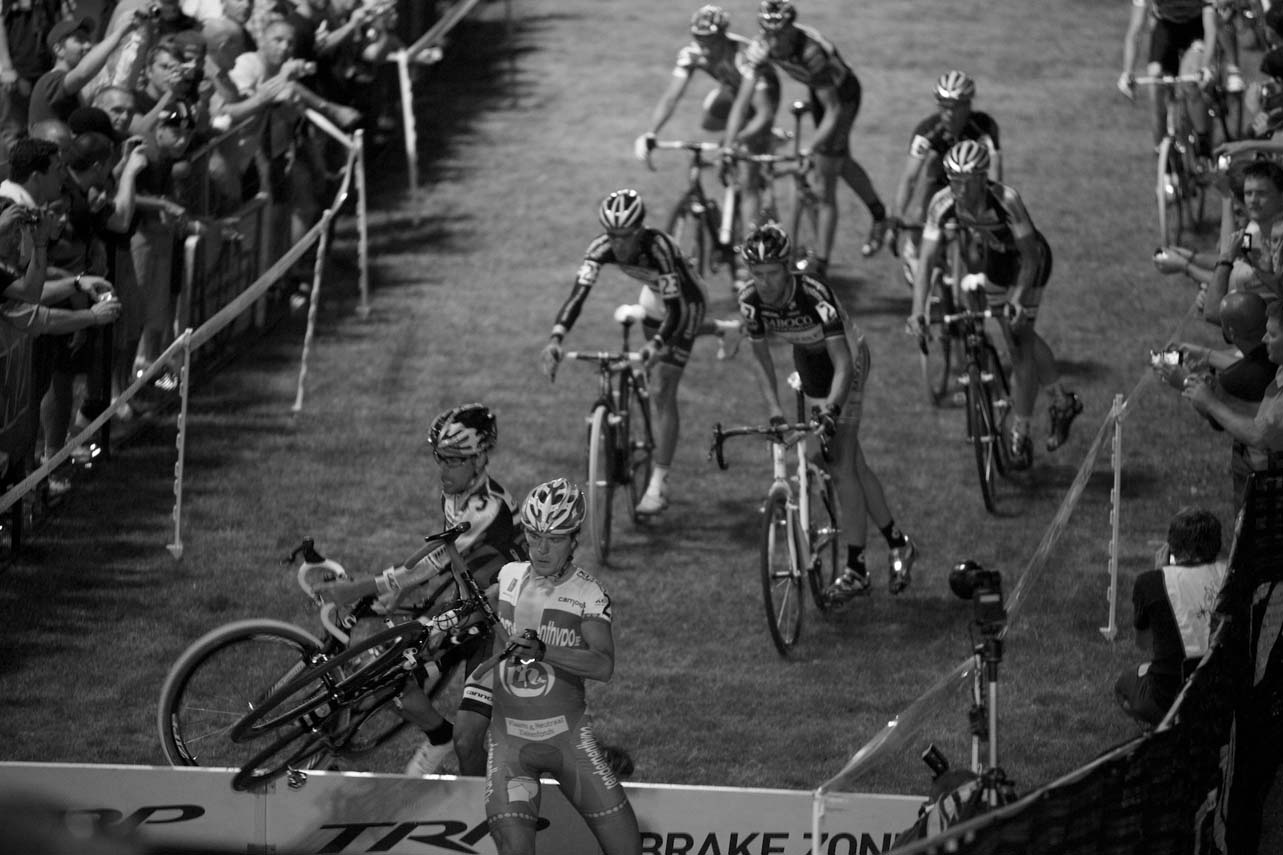 The thick carpet of CrossVegas is conducive to pack racing. ? Joe Sales
