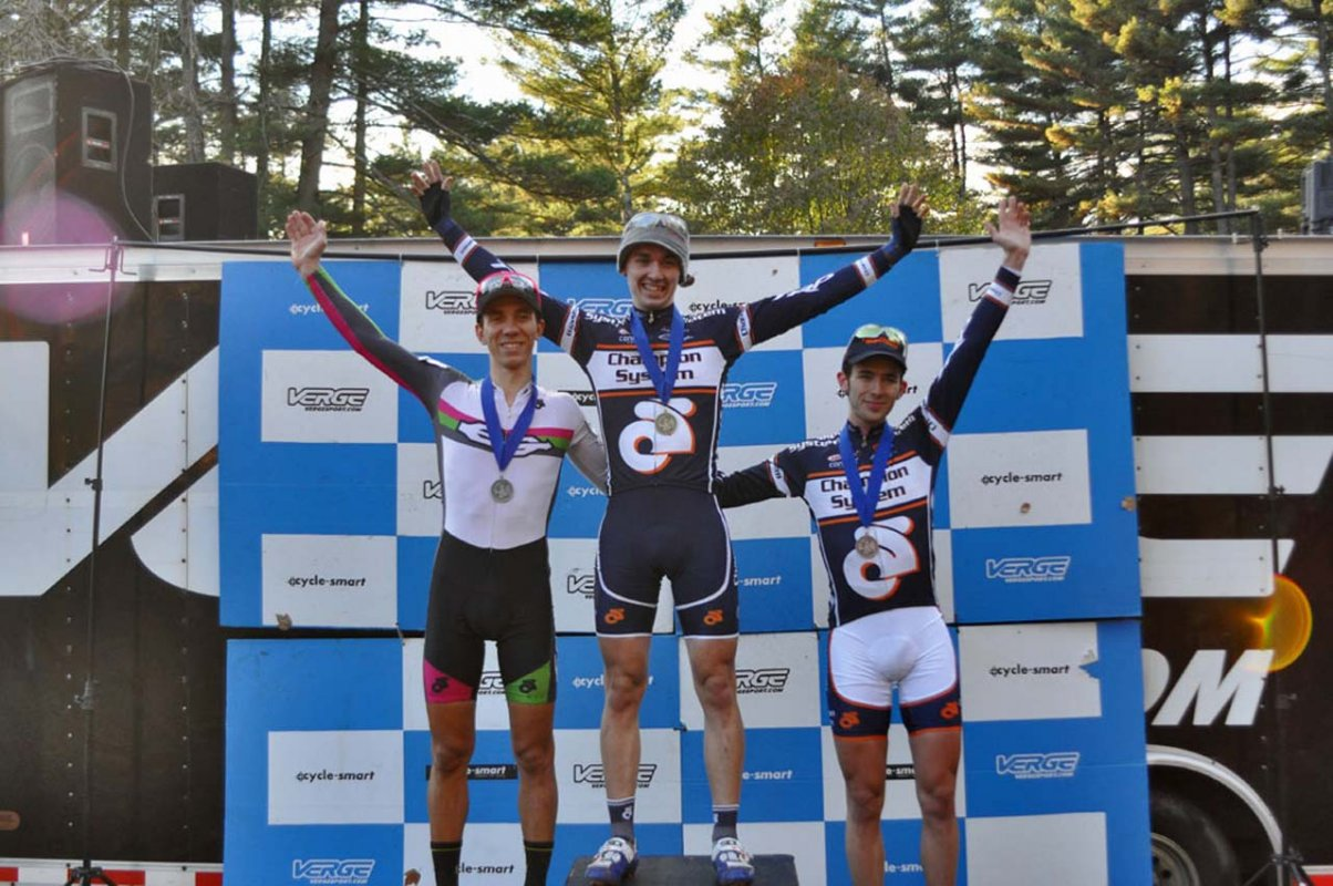 The Elite Men's podium. (L to R) Damiani, Keough and Keough © Dave Chiu