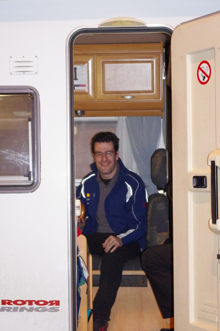 Anton Vos chilling out in his mobilehome  ? Jonas Bruffaerts