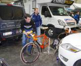 Stefan Wyman working on Helen's bike.  ? Jonas Bruffaerts