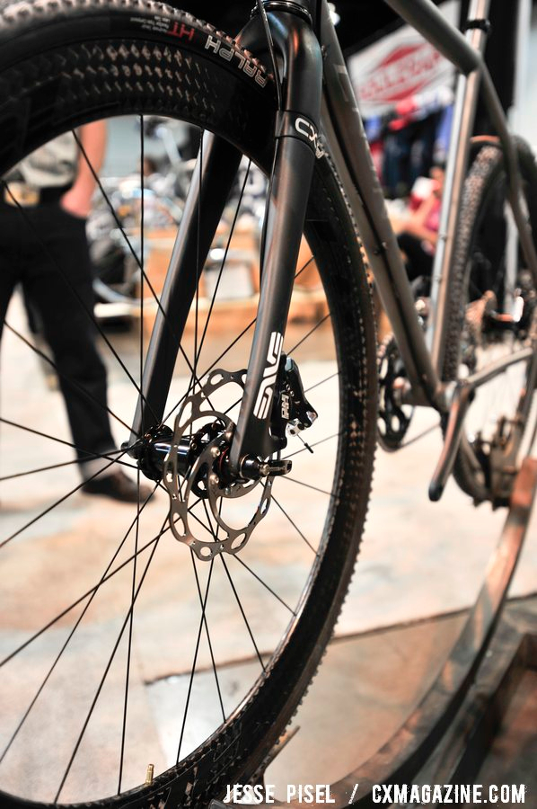 The ENVE disc-mount fork on the Engin custom frame. NAHBS 2013 © Jesse Pisel