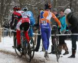 Elite riders fought over the one good line through the snow. ? Bart Hazen