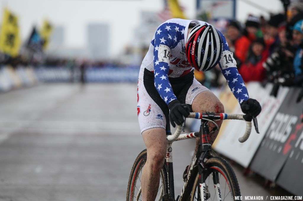 Owen at the finish in the Elite Junior World Championships of Cyclocross 2013 © Meg McMahon