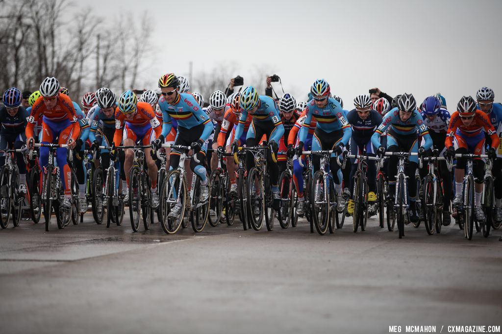 Getting ready to roll in the Elite Junior World Championships of Cyclocross 2013 © Meg McMahon