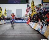 Showing off the winning number in the Elite Junior World Championships of Cyclocross 2013 © Meg McMahon