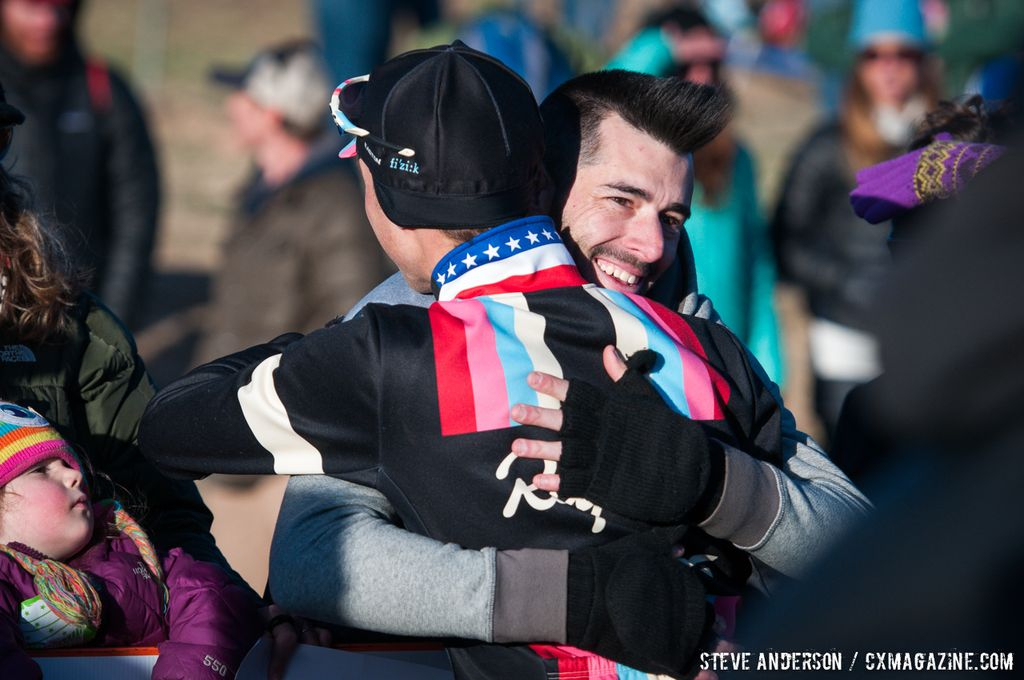 Powers celebrates at Elite Men 2014 USA Cyclocross Nationals. © Steve Anderson