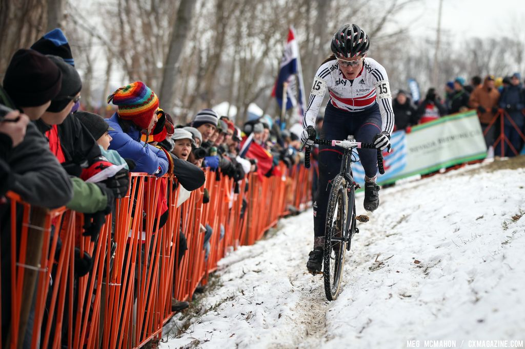 Gabby Day\'s crash at the start left her hurting but she kept pushing in the Elite Women World Championships of Cyclocross 2013 © Meg McMahon