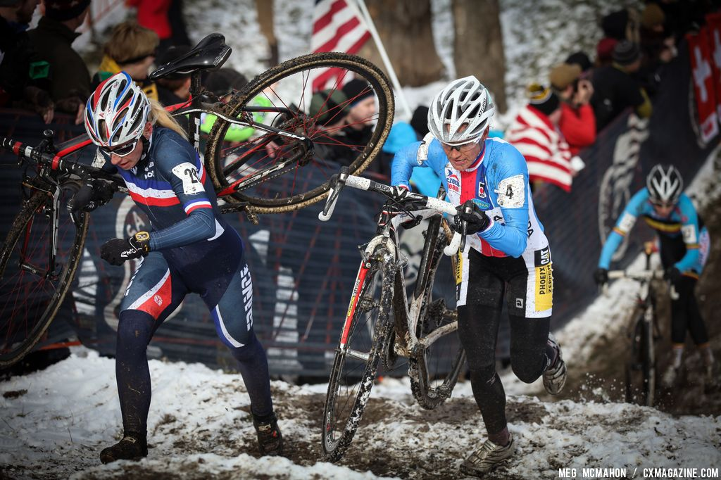Nash goes for the pass in the Elite Women World Championships of Cyclocross 2013 © Meg McMahon