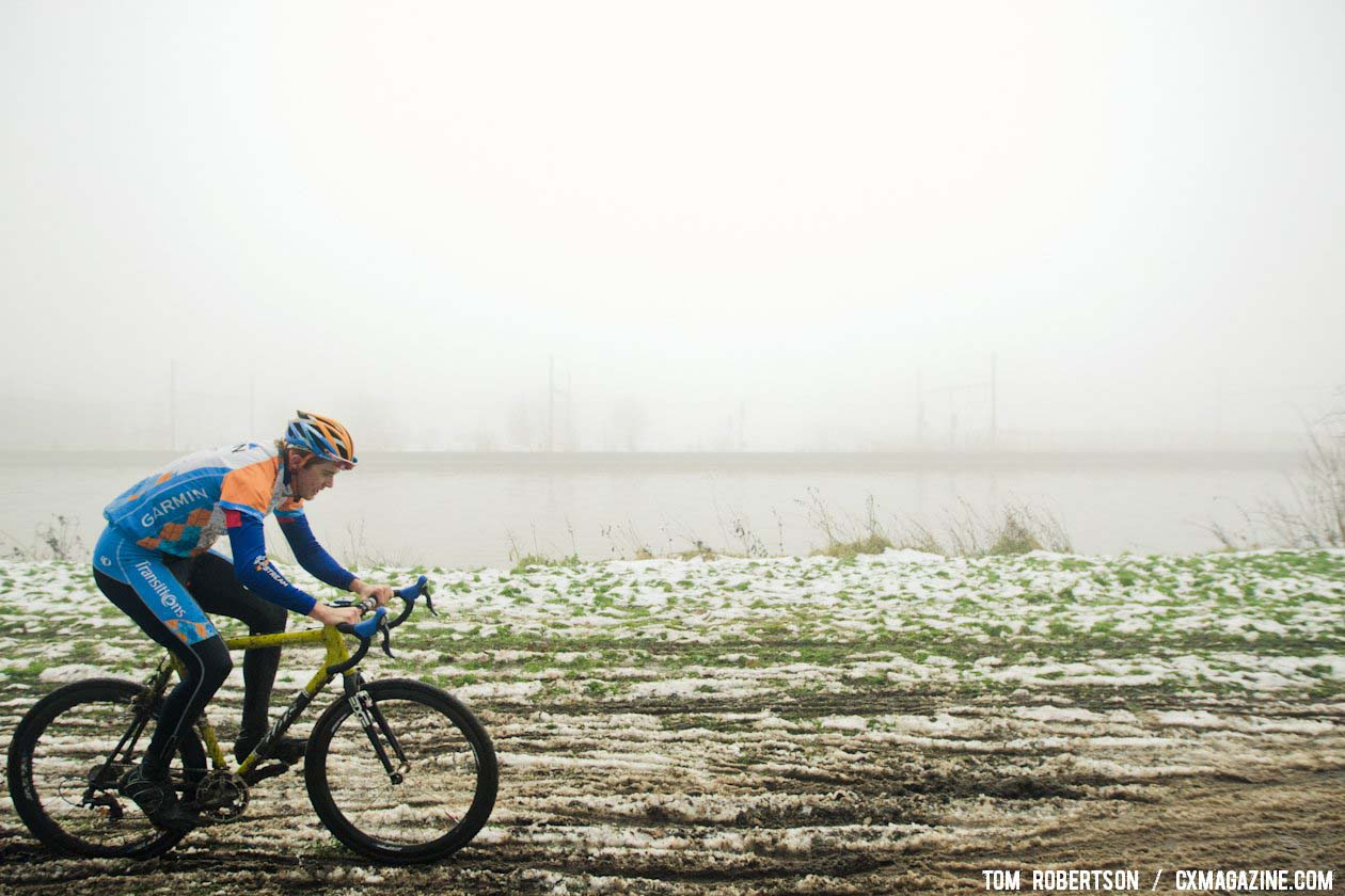 Danny Summerhill working his way through the snow and mud. © Tom Robertson