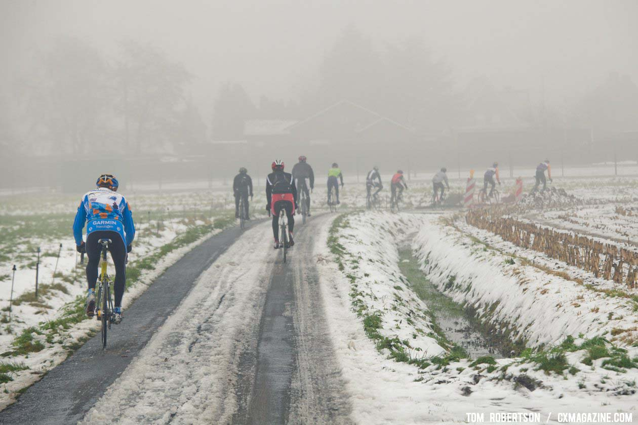 Half the group went for a training ride after the race. Ryan Trebon leads a group on the backroads around Izegem. © Tom Robertson