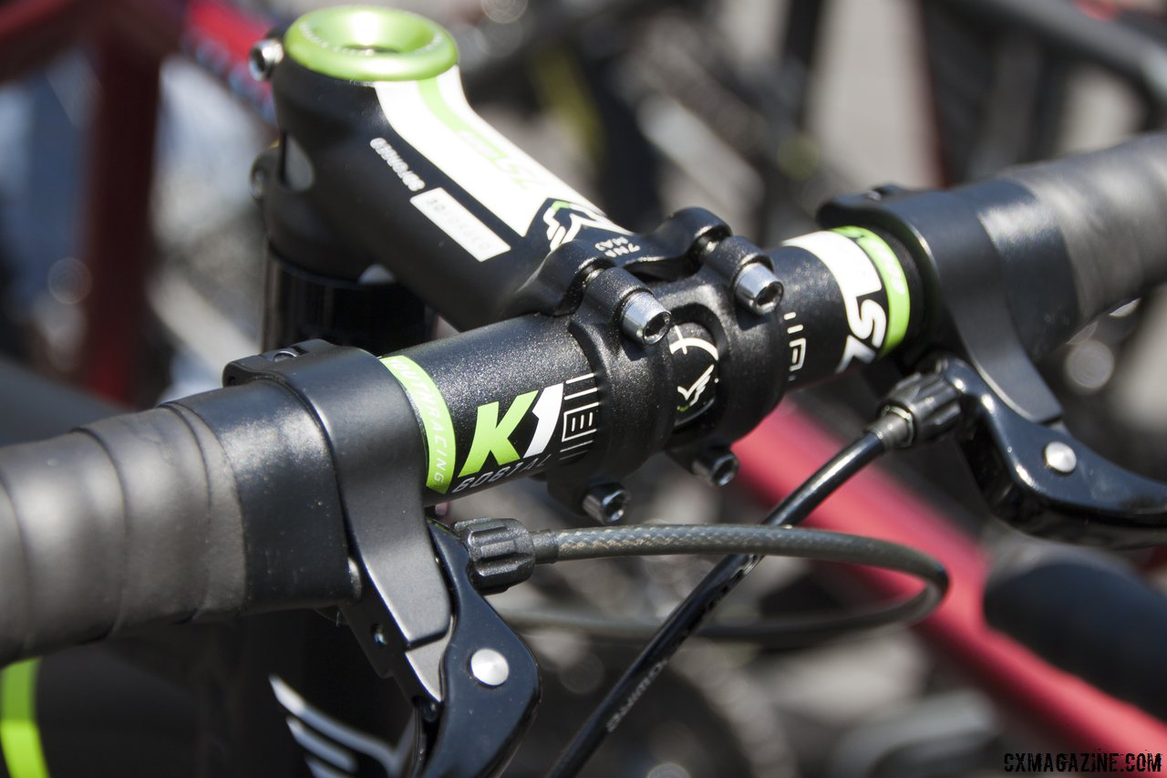 Narrow, compact bars and inline levers keep it comfortable and safe for the kids.  © Cyclocross Magazine