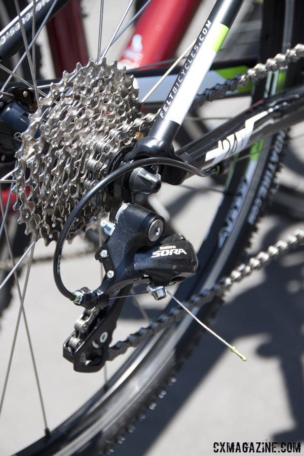 10-speed Sora drivetrain, controlled by Microshift shifters on the Felt 2014 F24x kid's cyclocross bike. © Cyclocross Magazine