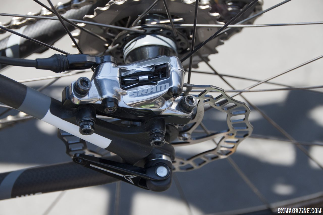 The SRAM hydro disc 11-speed provides stopping power on the Felt 2014 F2x carbon cyclocross bike. © Cyclocross Magazine