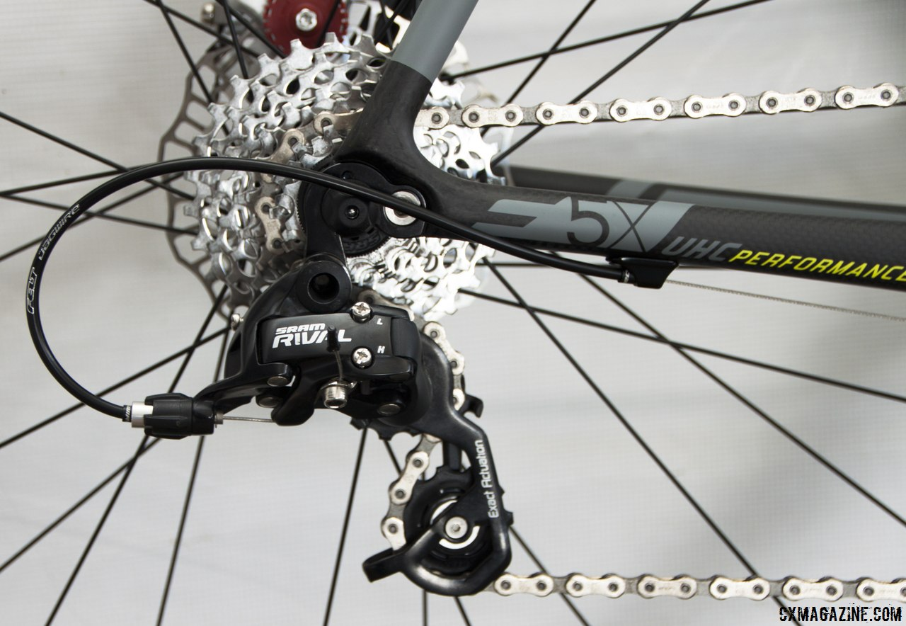 SRAM Rival 10-speed  completes the build on the Felt 2014 F5x carbon cyclocross bike. © Cyclocross Magazine