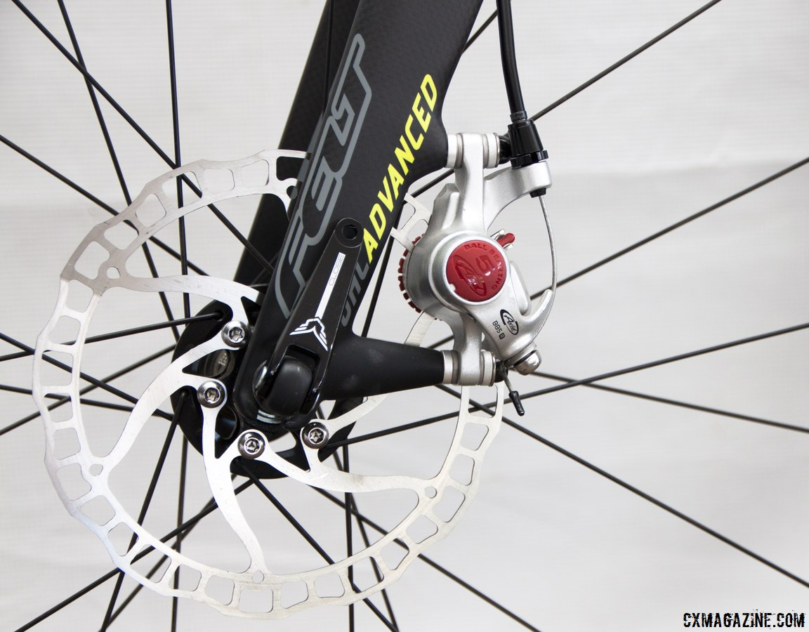 Disc brakes are the new normal on all of the Felt bikes, including the Avid BB5-equipped Felt 2014 F5x carbon cyclocross bike. © Cyclocross Magazine
