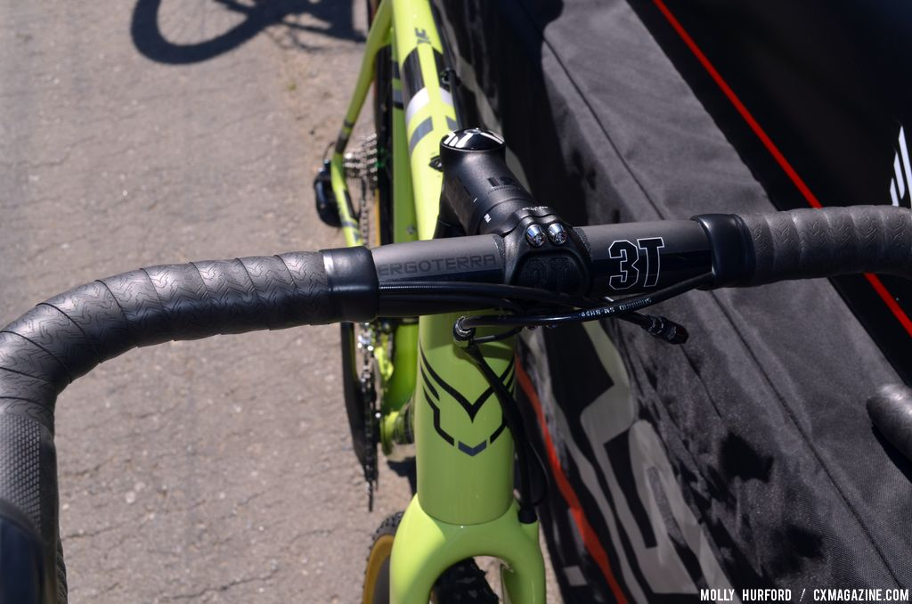 3T Ergoterra Team Stealth handlebars on the Felt F2x at Sea Otter 2014. © Cyclocross Magazine