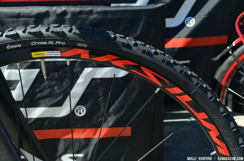 Vittoria XL Pro Cross tires on the Mavis wheels on the Felt F4x at Sea Otter 2014. © Cyclocross Magazine