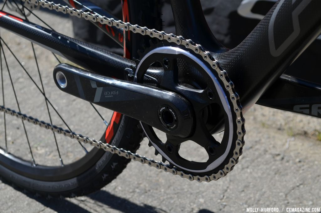 The new SRAM CX1 on the Felt F4x at Sea Otter 2014. © Cyclocross Magazine