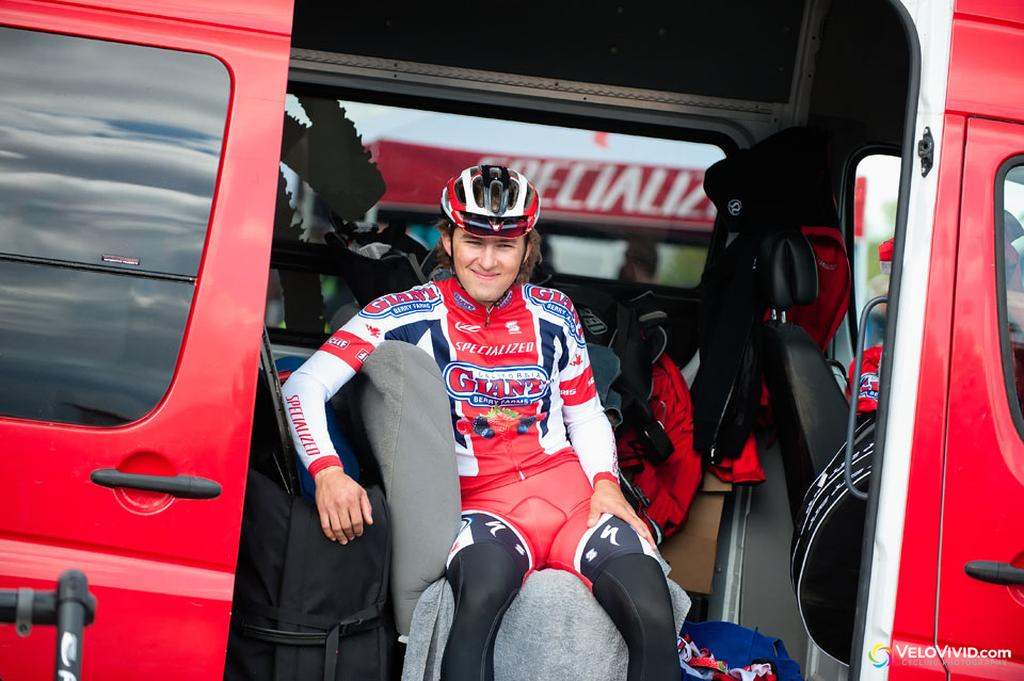 Cody Kaiser (California Giant Berry Farms-Specialized in good humor before the start. © VeloVivid Cycling Photography