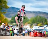 Zach McDonald (Rapha-Focus) wheelies his way into 10th spot. © VeloVivid Cycling Photography
