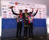 The men's podium of Trebon, Kabush and Powers. © Grant Berry
