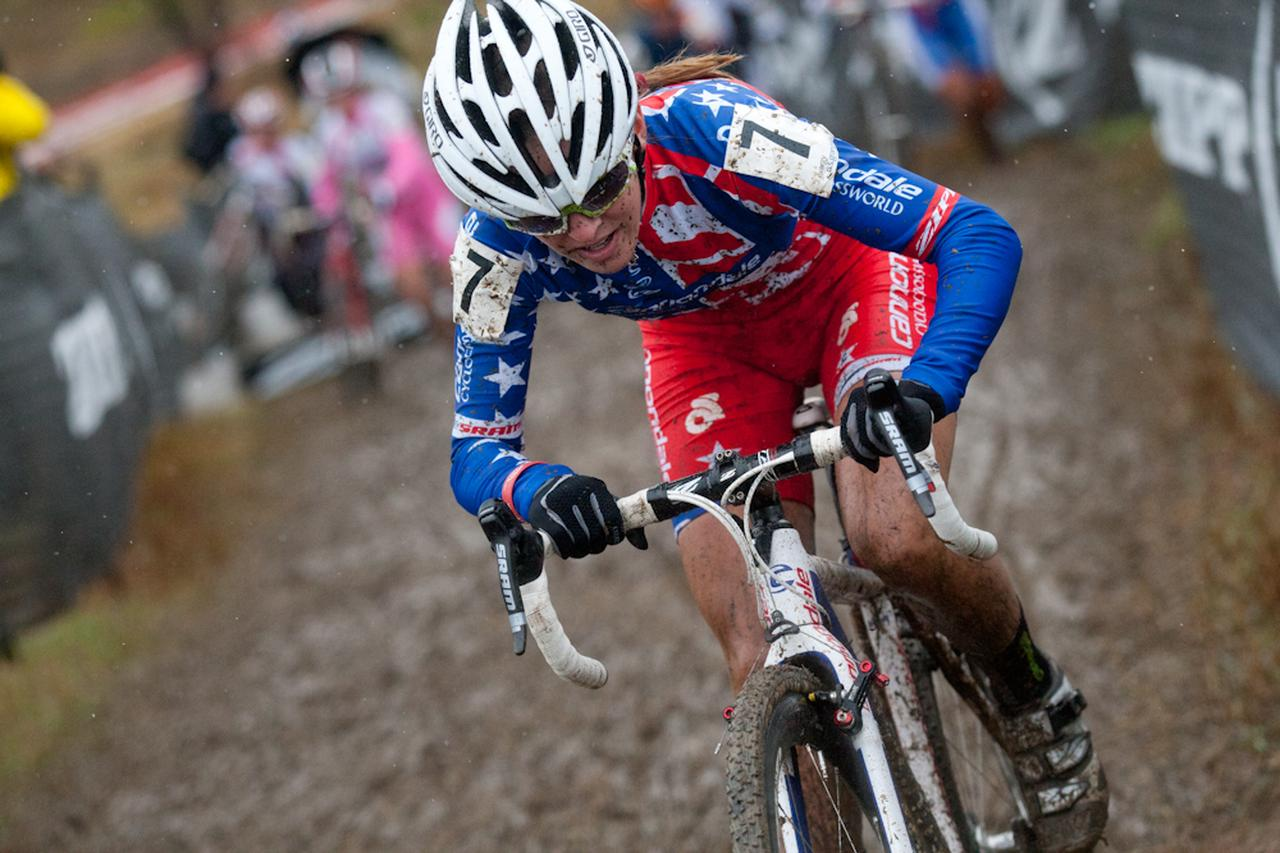 Katie Antonneau blasts through the mud. © Wil Matthews