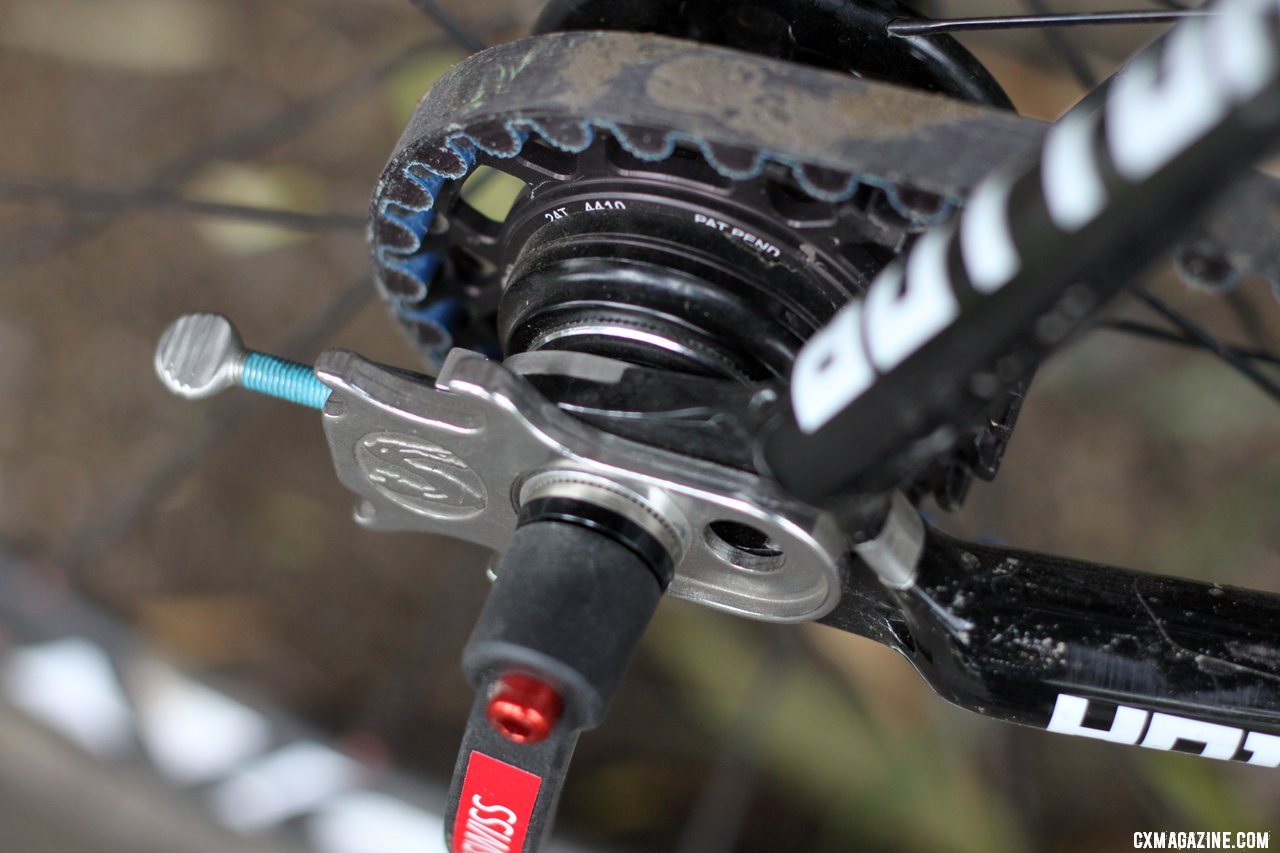 Perfect chain alignment is incredibly important on this new Raleigh carbon singlespeed cyclocross bike. © Cyclocross Magazine
