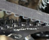 The Gates CenterTrack Carbon Belt Drive, neatly labeled on the Raleigh carbon singlespeed cyclocross bike. © Cyclocross Magazine