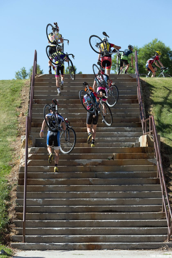 Stair exercises are part of the cyclocross specific drills. © Tom Robertson