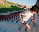 Sam O'Keefe running the stadium steps in the morning.