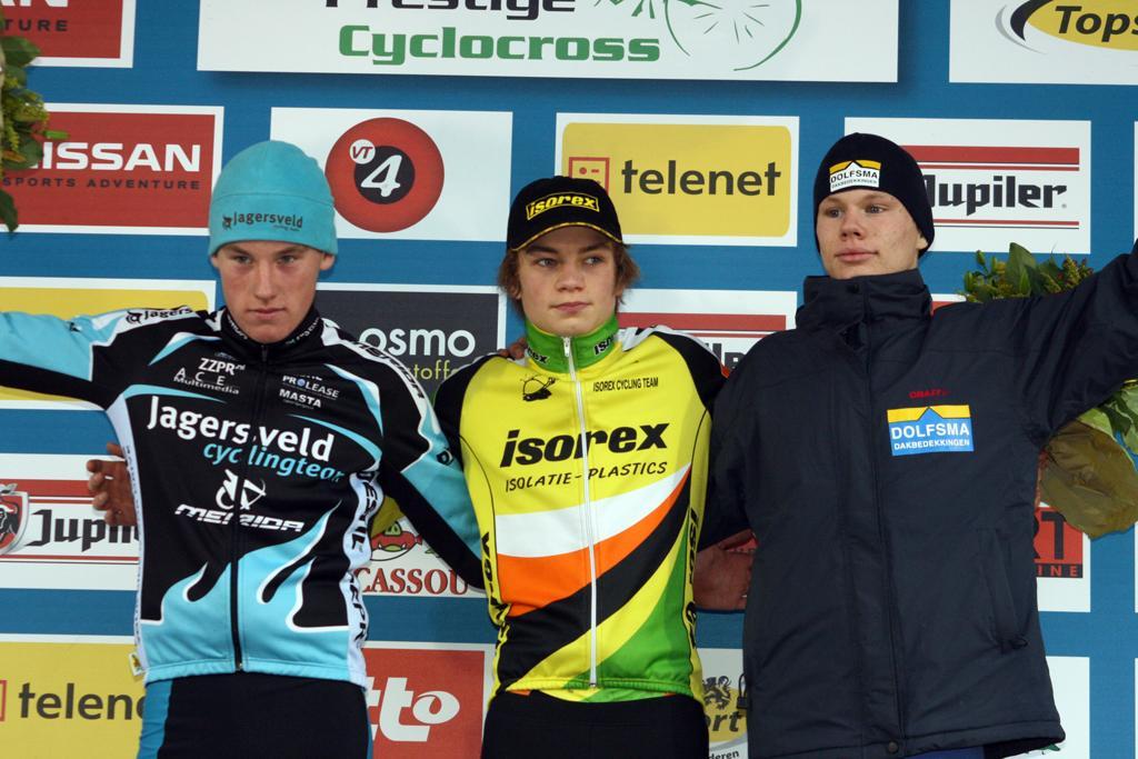 Teunissen (l), Van der Poel and Dolfsma on the podium. ? Bart Hazen