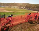 Jeremy Powers (Rapha FOCUS) leading Tim Johnson (Cannondale p/b Cyclocrossworld.com) through the chicane. © Kevin White