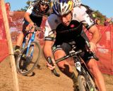 Tim Johnson (Cannondale p/b Cyclocrossworld.com) leading Jamey Driscoll (Raleigh Clement) and Ryan Trebon (Cannondale p/b Cyclocrosworld.com) through the chicane. © Kevin White