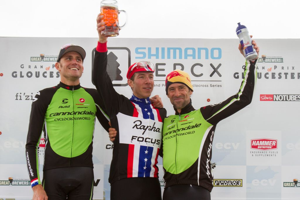 Elite men\'s podium: Johnson third, Trebon second, Powers wins, but should keep an eye on his beer.   © Todd Prekaski