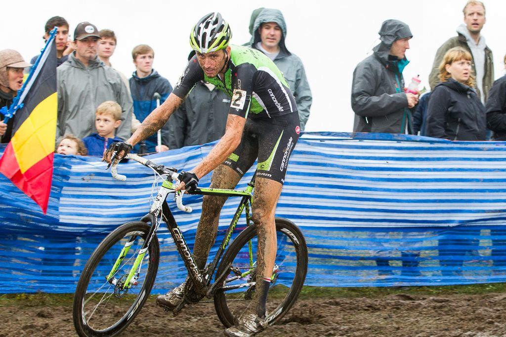 A muddy Trebon riding to a win © Todd Prekaski