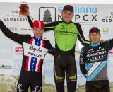 The men's podium: Berden third, Powers second, and Trebon wins © Todd Prekaski