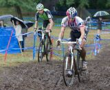 Powers and Trebon duke it out on the front of the race © Todd Prekaski