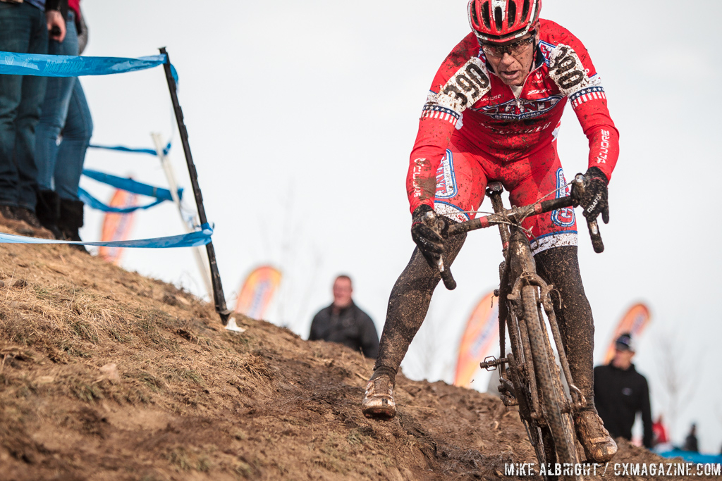James Coats in the men\'s 50-54 race at 2014 USA Cyclocross National Championships. © Mike Albright