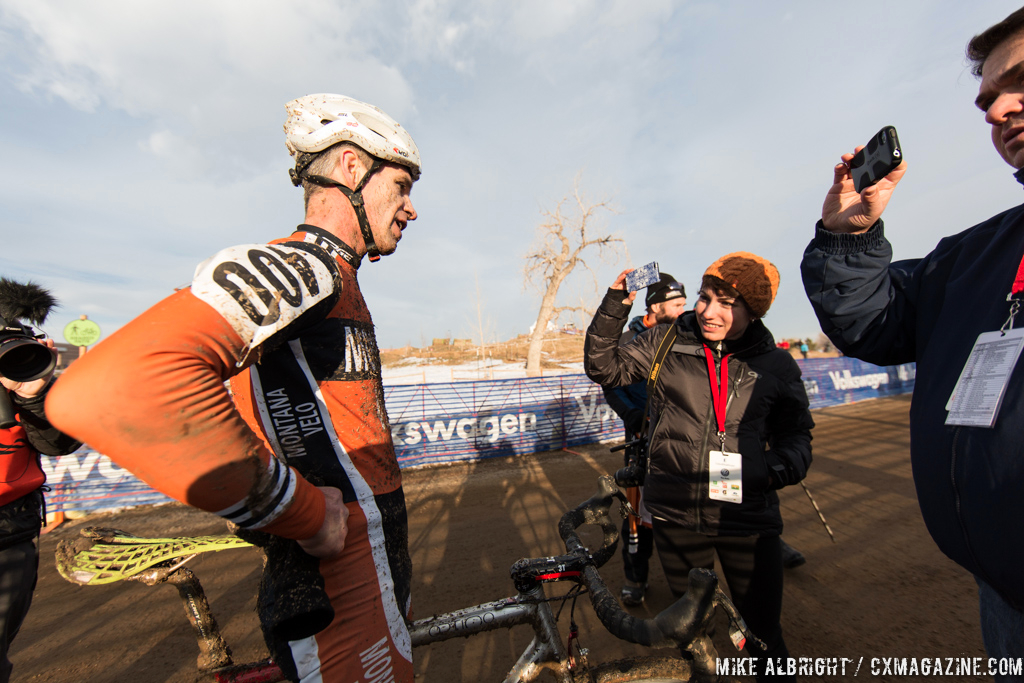 Interviewing Gonzalez in the men\'s 50-54 race at 2014 USA Cyclocross National Championships. © Mike Albright
