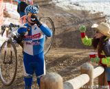 Handups are technically a crime... in the men's 50-54 race at 2014 USA Cyclocross National Championships. © Mike Albright