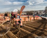 Gonzalez on the stairs in the men's 50-54 race at 2014 USA Cyclocross National Championships. © Mike Albright