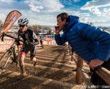 Long stairs in the men's 50-54 race at 2014 USA Cyclocross National Championships. © Mike Albright