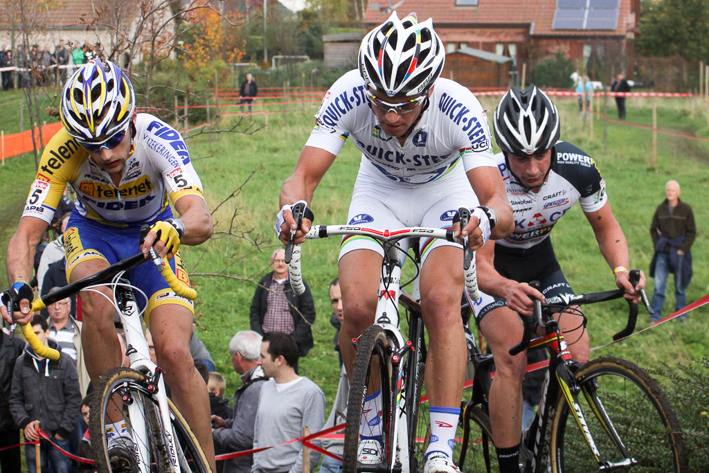 Stybar leads the first chase group up a climb. ©Bart Hazen