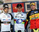 The Elite Men's podium (L-R): Niels Albert (BKCP-Powerplus), 2nd; Sven Nys (Crelan-KDL), 1st; Klaas Vantornout (Sunweb-Napoleon Games), 3rd. © Bart Hazen / Cyclocross Magazine