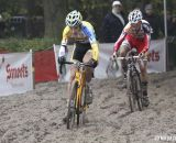 Wout Van Aert leads Gianni Vermeersch through the sand in th e U23 race. © Bart Hazen / Cyclocross Magazine