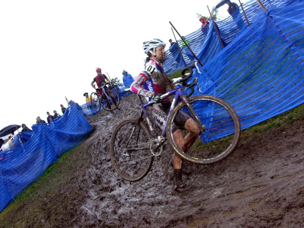Natasha Elliott runs the muddy turn. ? Paul Weiss